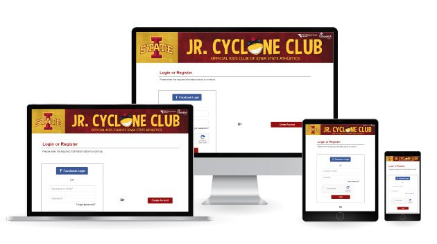 Junior Cyclone Club Website displayed on multiple devices