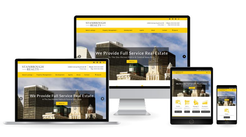 Stanbrough Realty Website on displayed on multiple devices