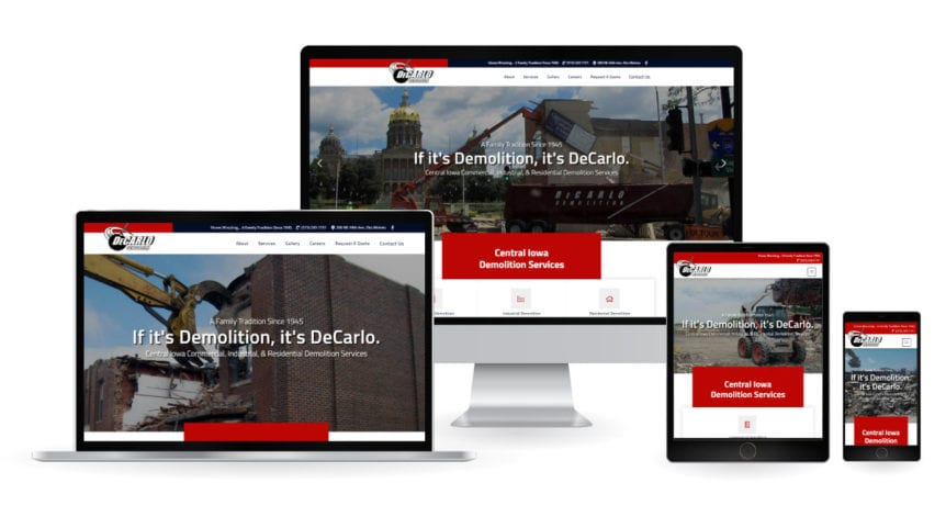 DeCarlo Demolition Company Website Mockup
