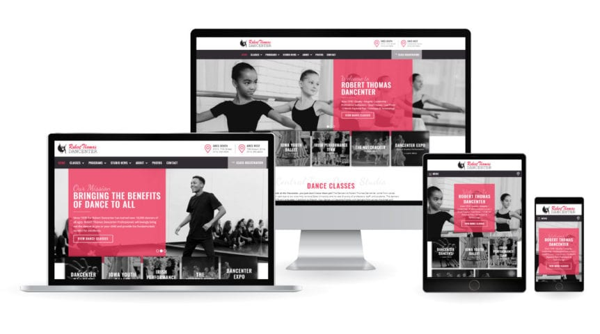 Robert Thomas Dancenter - Reponsive Design Website Mockup