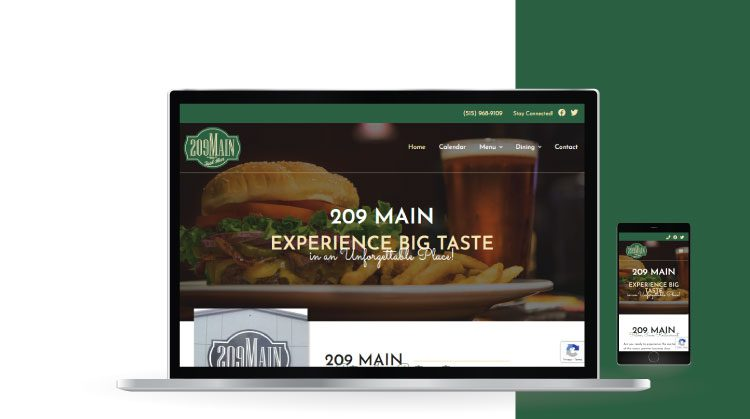 209 Main Website Mockup