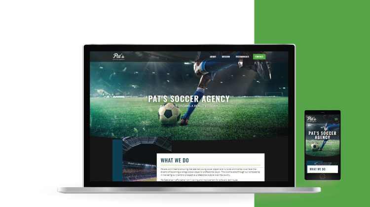 Pat's Soccer Agency Website Mockup